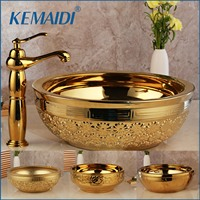KEMAIDI Solid Brass Basin Faucets Sets Golden Luxury Ceramic Lavatory Bathroom Tap Washbasin Sink Bath Combine Mixer Free Drain