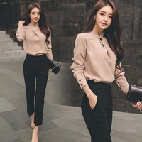 Two Piece Office Work Wear Autumn Women Business Suit Sexy Chiffon Shirt Tops and Black Pants Suit