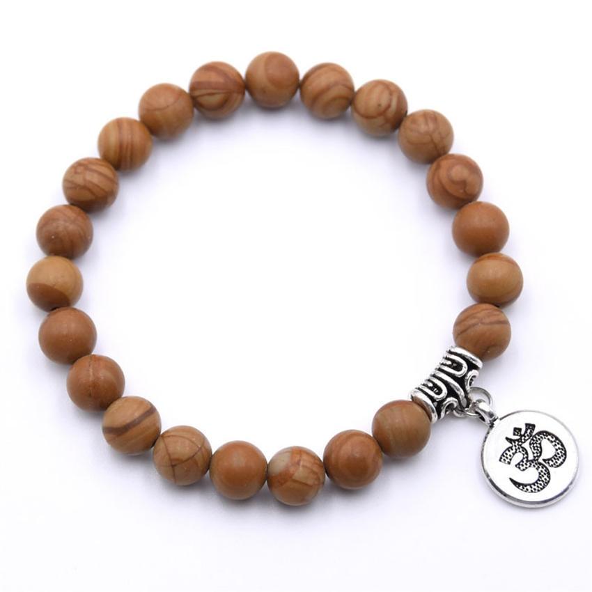 Natural Stone Strand Bracelet Yoga Chakra Mala Bracelet OM Lotus Women Men Beaded Charm Bracelet Jewelry Pulseras dropshipping - Окраска металла: ZT110-13