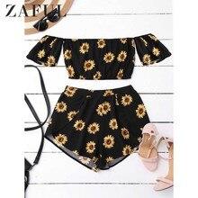 76a3613b276 ZAFUL Crop Off Shoulder Top and Sunflower Shorts Pleated Zipper Fly Floral  Streetwear 2017 Novelty Women