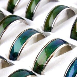 Image 5 - الجملة الكثير! 100 قطعة خواتم المزاج! خاتم بفص يتغير لون خواتم الفولاذ المقاوم للصدأ مزيج حجم 6 7 8 9