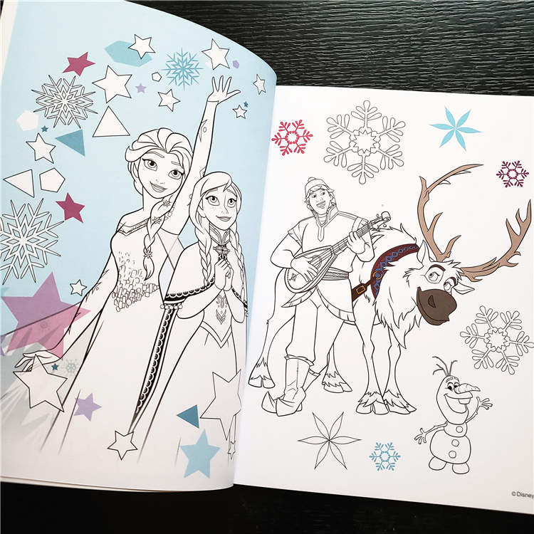Disney Cartoon Frozen Elsa Drawing Sofia Princess Toy Coloring Notebook Paint Learning Children Graffiti Book Education Boy Girl