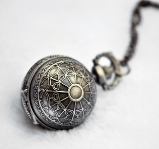spider web ball black trendy fashion quartz pocket watch vintage women child jewelry long sweater chain pendant necklace - Olia shop store