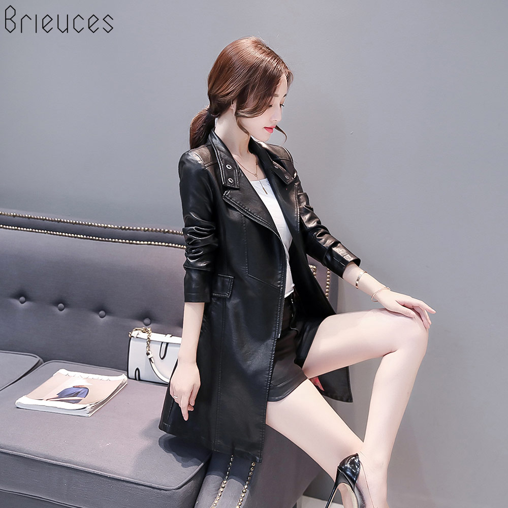 Brieuces 2018 Autumn Winter Soft Faux   Leather   jacket Female Single Breasted Plus Size Women Long PU   Leather   Coat chaqueta mujer
