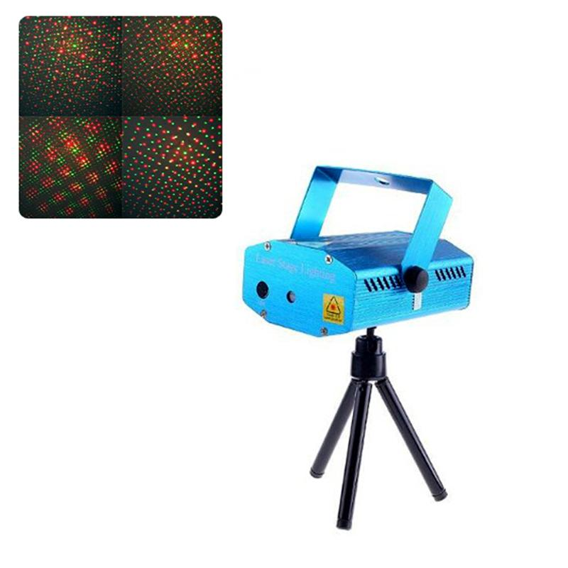 Red & Green Mini Disco Laser Stage Light Party Pattern Lighting Projector With Tripod & US-Plug Power Adapter (Blue)