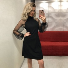 Womens Dress 2018 Autumn Dresses Pearl Beading Mesh Sleeve Tunic Black Pink Blue Long A-Line Mini Party