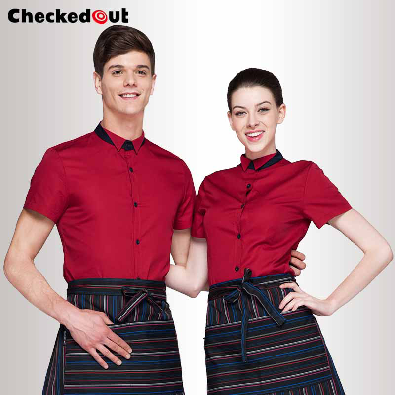 Hot Checked-out restaurant cook work wear chef uniforms summer short-sleeve cook suit single breasted food service