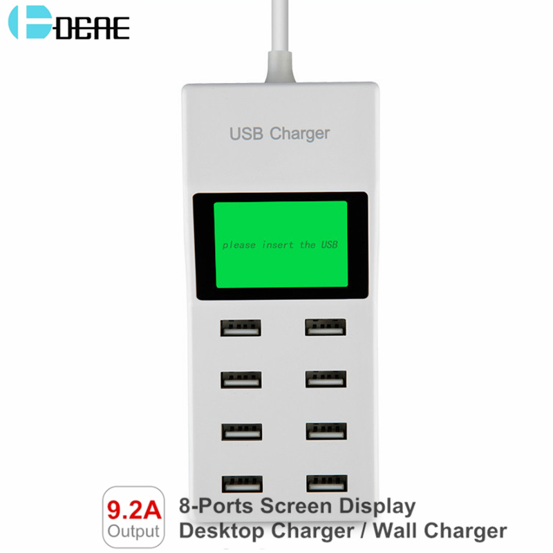 DCAE 8 USB Ports Lcd Display US EU UK Plug Travel AC Power