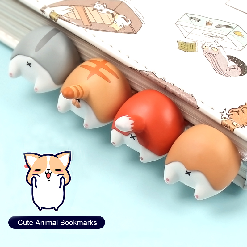 4 Pcs/lot Lovely Cartoon Dog Cat Hamster Fox Ass Bookmarks Novelty Book Reading Item Creative Gift For Kids Children Stationery