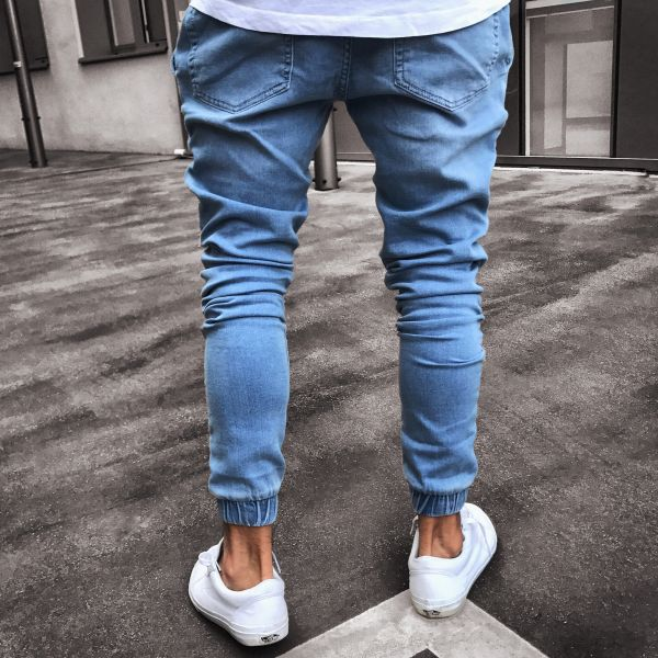 2019 New Brand Fashion Pleated Pencil Jeans Blue Skinny Causal Biker Jeans for Male Slim Fit Denim Pants Stylish Jeans S 4XL in Jeans from Men 39 s Clothing