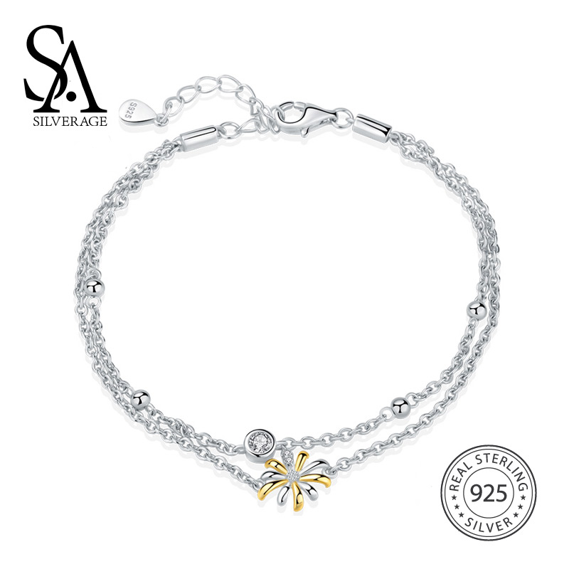 SA SILVERAGE 925 Sterling Silver Sky City Gold Color Bracelets & Bangles for Women Fine Jewelry Rhinestone Two Layer Bracelet
