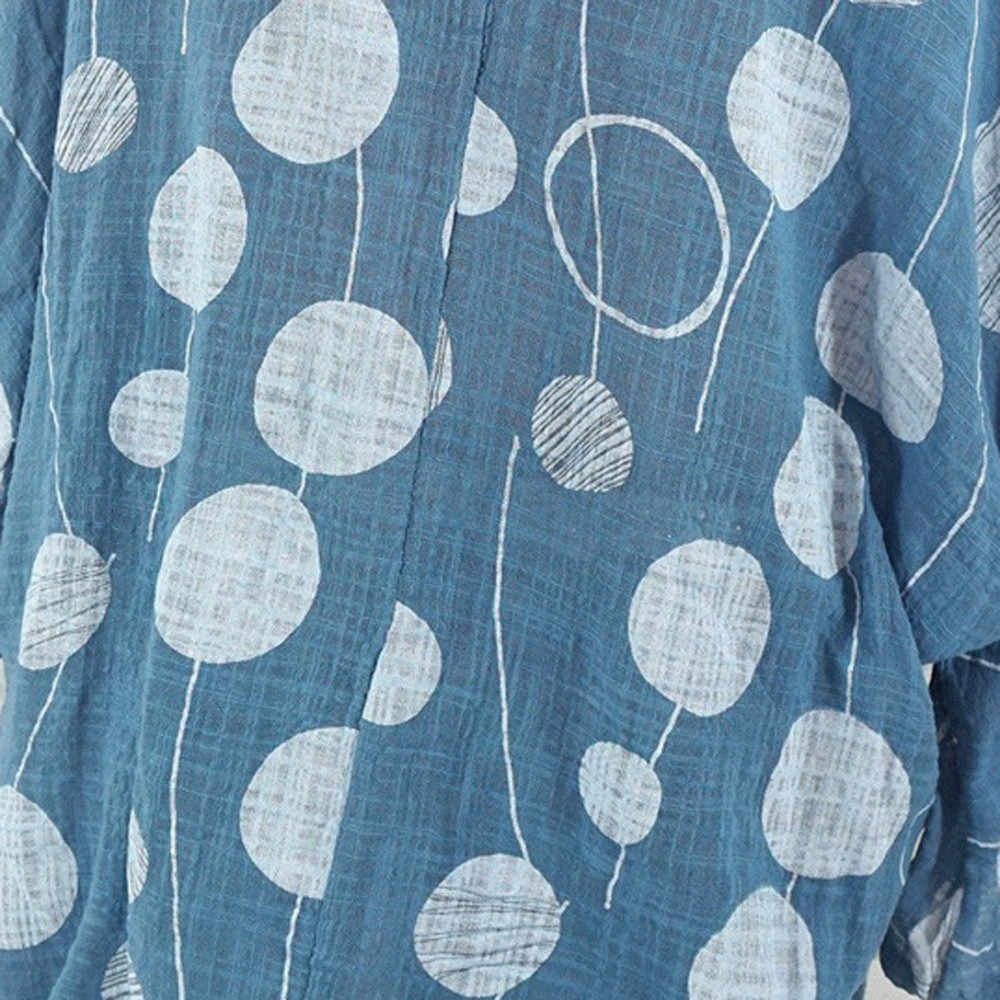 女性プラスサイズブラウス長袖 O ネックポルカドットプルオーバールーズシャツ秋レディーストップスとブラウスシュミーズファム #2 ワット
