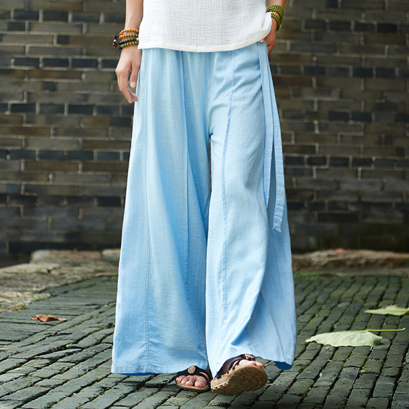 Johnature Women Cotton Linen   Wide     Leg     Pants   2018 Autumn New Elastic Waist Loose Solid Color Trouser Patchwork Casual Women   Pants