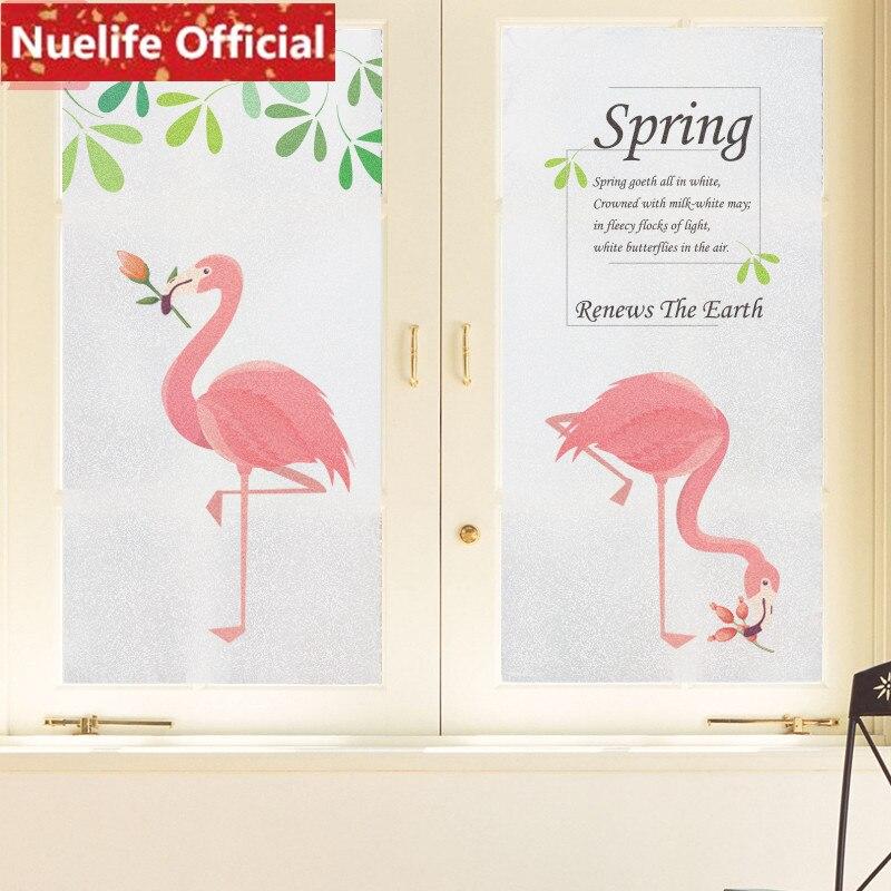 60x90 cm Flamingo vert feuille motif verre dépoli film maternelle salle de bains salon balcon fenêtre décoration verre film N4