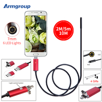 2IN1 Endoscope 7MM 2M 5M 10M Endoscope HD Android Camera Endoscopio OTG Borescope IP67 Android Camera