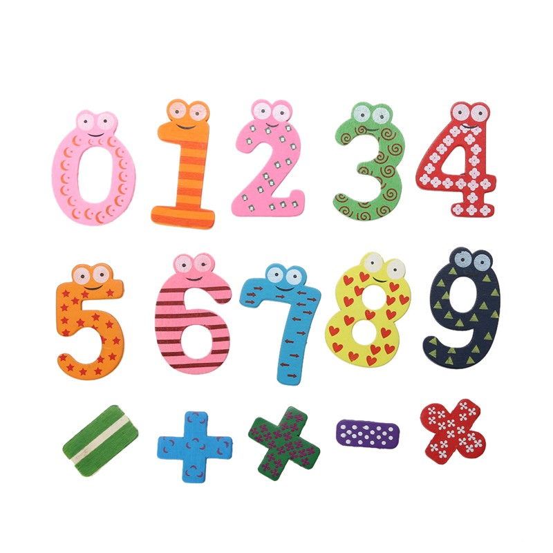 15pcs Wooden Number Fridge Magnet Baby Educational Toy