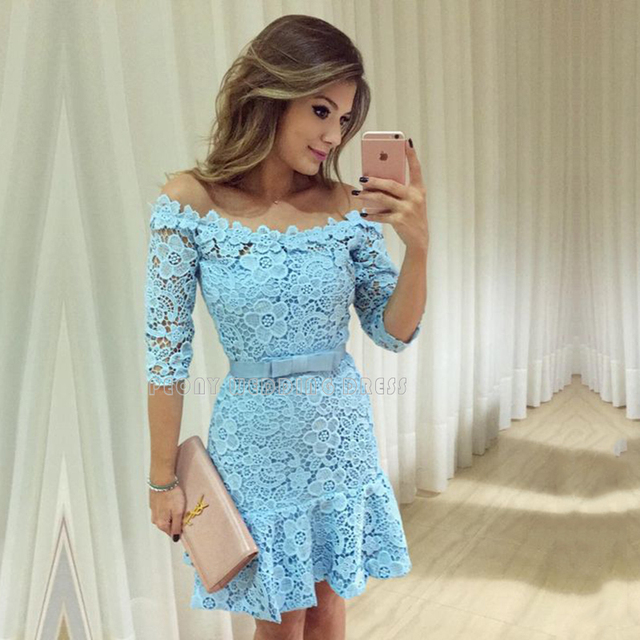 34cac47ae Luz Azul de la manera de Encaje Cortos Vestidos de Fiesta Con Mangas  Hermoso Vestido de