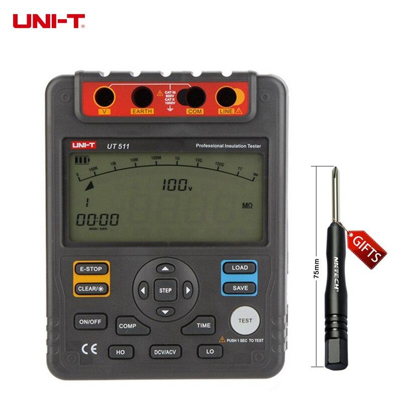 UNI-T UT511 Digital Insulation Resistance Testers Meter Megohmmeter Low Ohm Ohmmeter Voltmeter Auto Range 1000V 10