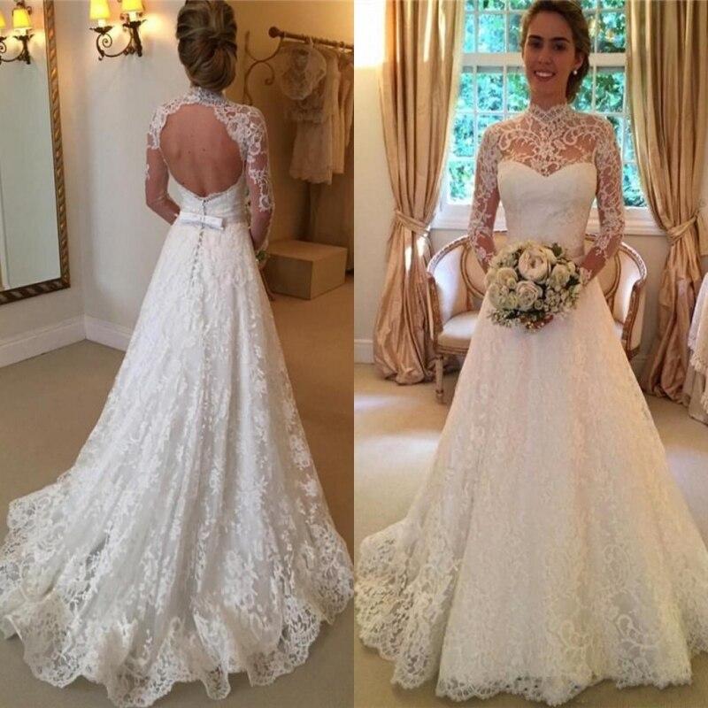 Vintage Lace Wedding Dresses High Neck Illusion Sleeved