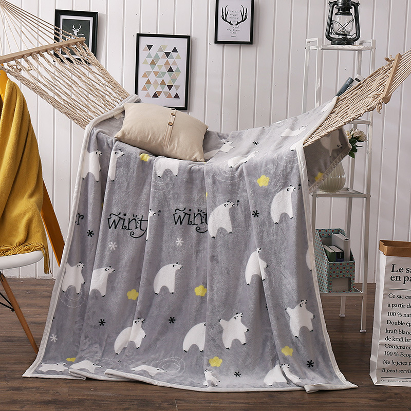 Flannel Coral Fleece Blanket Polyester Gary Color Mink Throw Sofa Cover Plaid Sheet Soft Blankets On The Bed 150X200CM