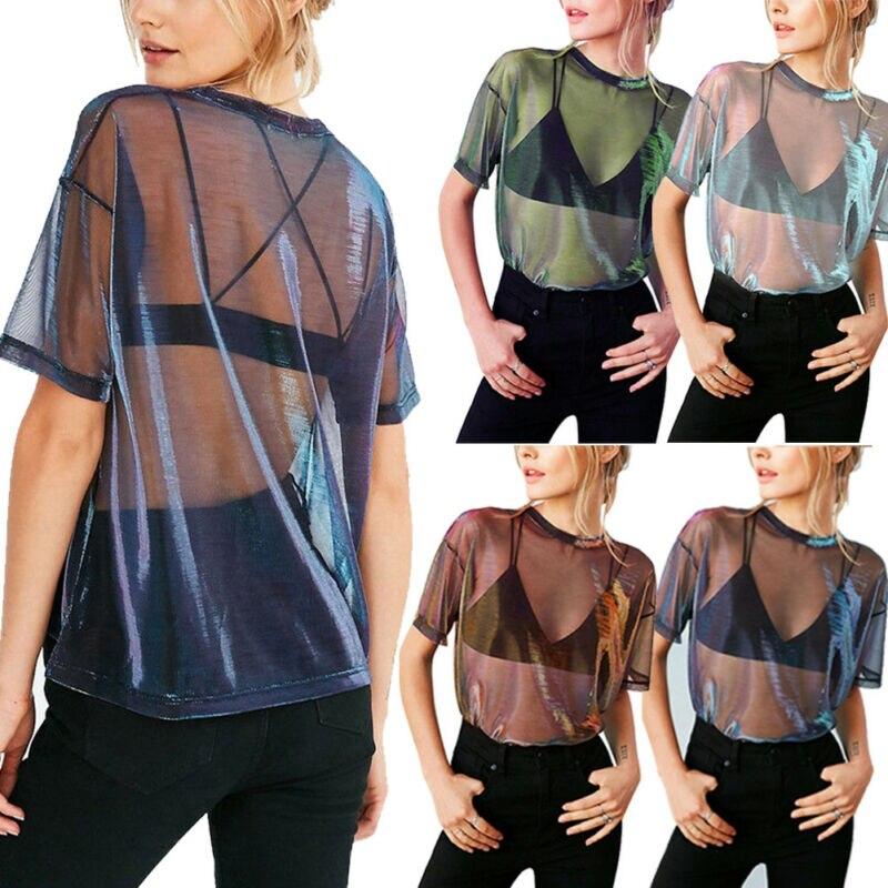 Women Sheer Mesh Net Bikini Cover Up T-Shirt Short Sleeve Crop Tops Transparent Blouse Clubwear Beachwear Summer Swimwear(China)