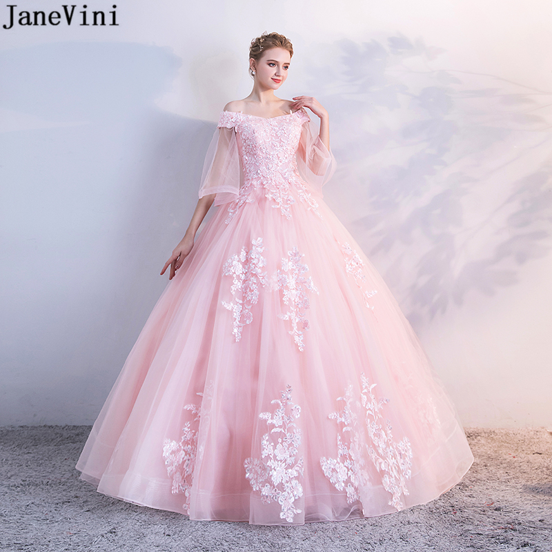 JaneVini Charming Sequined Pink Quinceanera Dresses 2019 V Neck Lace Appliques Pearls Backless Plus Size Ball Gown Robe 16 Ans(China)