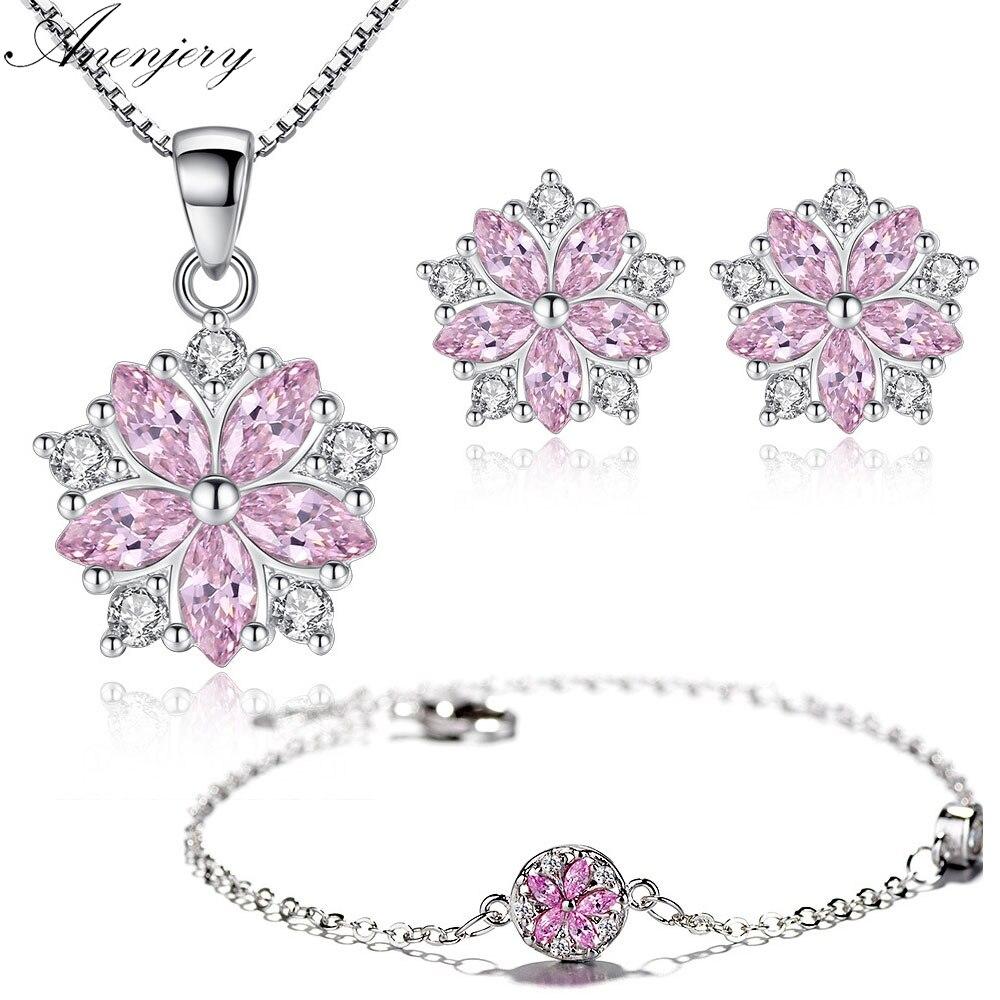 Anenjery-collar + pendientes + pulsera de flores de cerezo de circón, moda novedosa, juegos de joyas para mujer y Niña de Plata de Ley 925