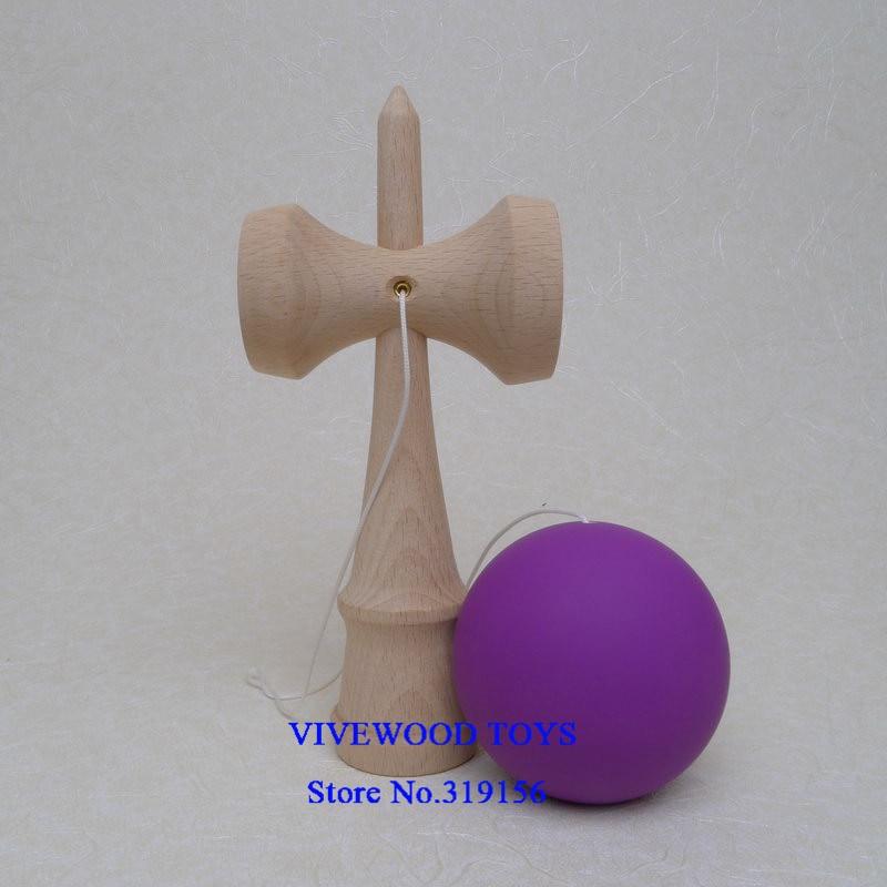 Резиновая кендама, Традиционная японская Kendama 18 см Kendama(резиновая краска, лучшее трение) из бука, Pro Kendama - Цвет: Purple Rubber