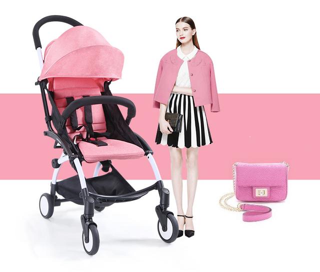Poussette de moda madre cochecitos Rosa portátil cochecito plegable Cochecito de Bebé plegable Luz tamaño pequeño de buena calidad precio de fábrica