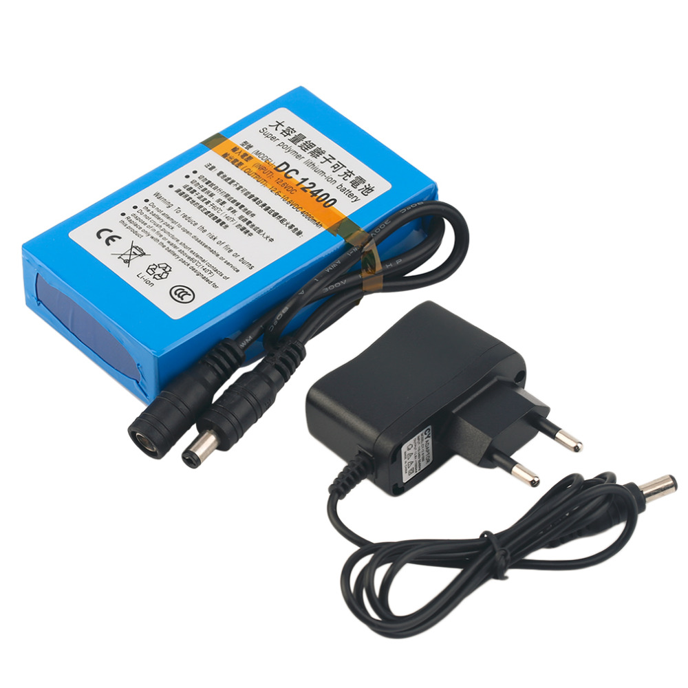 DC 12.6 V Rechargeable Li-ion Battery For CCTV Camera Blue with EU Plug