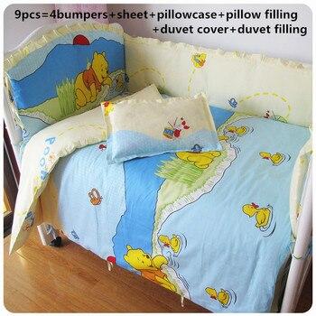 9PCS whole set baby bedding set cotton curtain crib bumper kit de berço washable baby bed set, 120*60/120*70cm