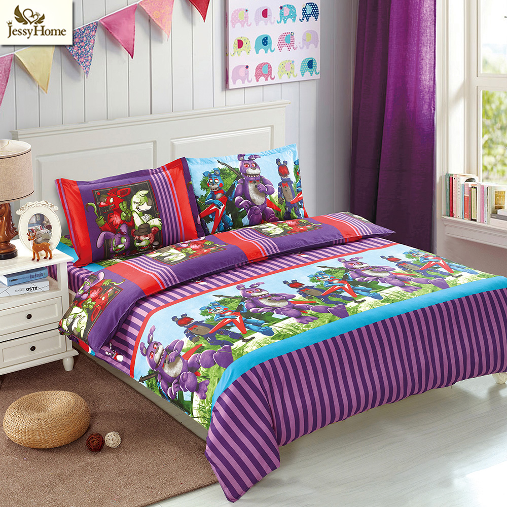 FNAFs Bedding Set 4Pcs Bed Linens Children Doll Reactive Printing Flat Sheet Set Twin Queen King Size Cartoon Duvet Cover Set