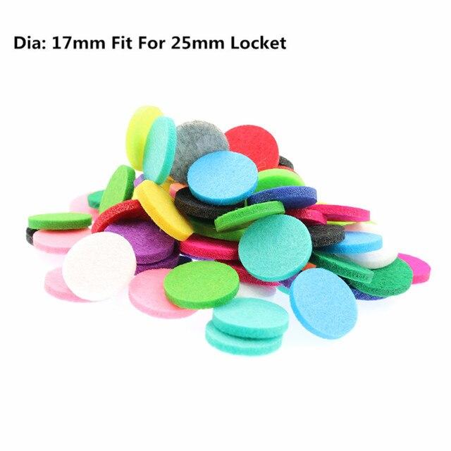 20 piezas almohadillas de fieltro de aromaterapia de colores a la moda de 17mm para difusor de aceites esenciales de 25mm medallón flotante de color al azar