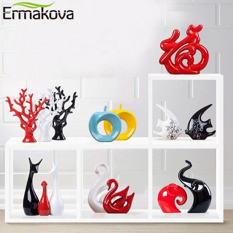 Ermakova Ceramic Animal Figurine Ornamental Statue Deer Porcelain Figurine Residence Desktop Decor Christmas Birthday Marriage ceremony Reward