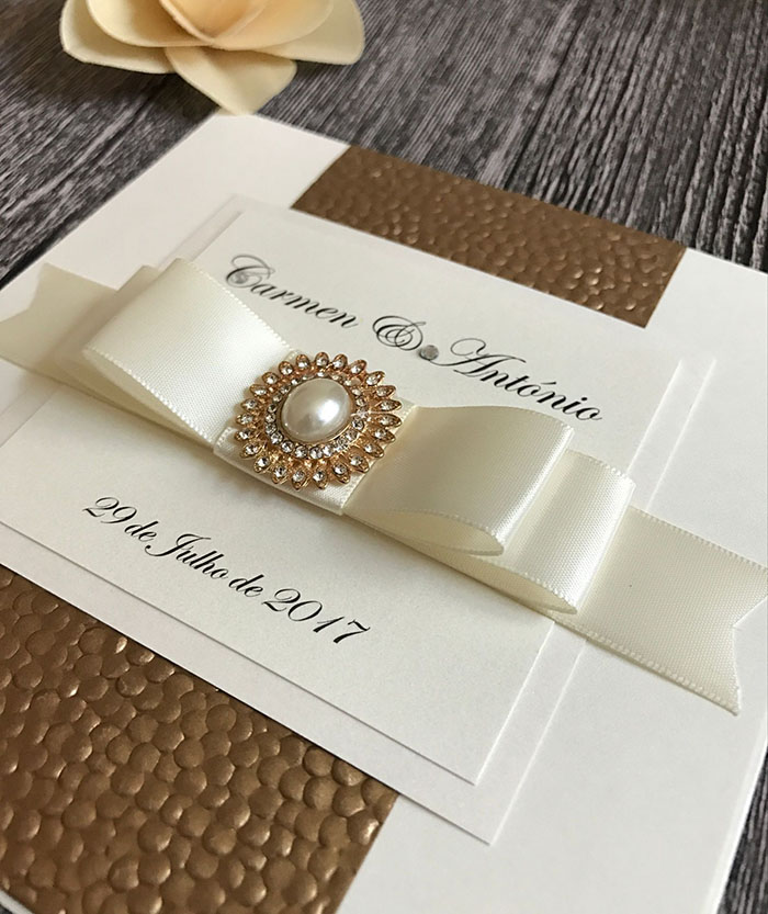 Luxury Gold Silver White Embossed Pebble Wedding Invitations with Pearl and Crystal Embellishment