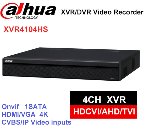 Dahua XVR video recorder XVR4104HS 4ch 1080P Support HDCVI/ AHD/TVI/CVBS/IP Camera dahua xvr video recorder 16ch 1080p replace nvr and dvr dh xvr7216an p2p support hdcvi ahd tvi cvbs ip 1u digital video recor