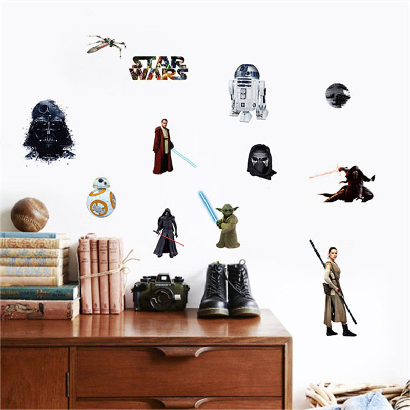 Pegatinas de pared Decoración Del Hogar Película Personaje de Star Wars The Force Despierta Casa Decoración Mural Tatuajes de Pared de Vinilo Sticker For Kids