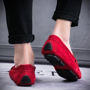 Męskie mokasyny slip on mokasyny dla mężczyzn skórzane buty na co dzień wysokiej jakości wsuwane mokasyny trampki samochodu buty do jazdy samochodem but marynarski czerwony tanie i dobre opinie Dla dorosłych Przypadkowi buty Krowa Zamszu Gumowe Prawdziwej skóry Skóra bydlęca Oddychająca Slip-on syxy78-755-mens loafers