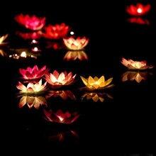 10pcs Multicolor silk lotus lantern light  floating candles  pool decorations Wishing light birthday wedding party decoration