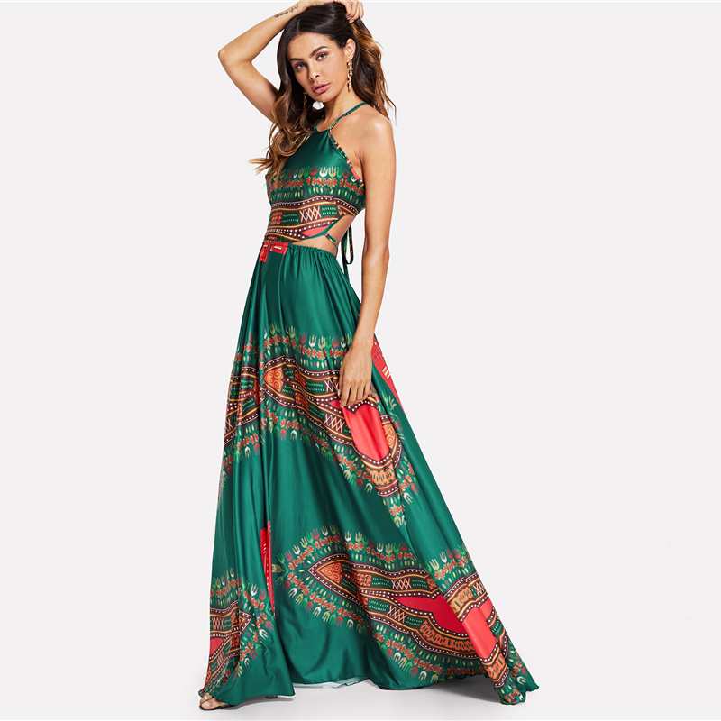 COLROVIE Green Elegant Backless Geometric Ornate Print Cut Out Halter Summer Women Maxi Dress 2018 Sexy High Waist Beach Dress 5