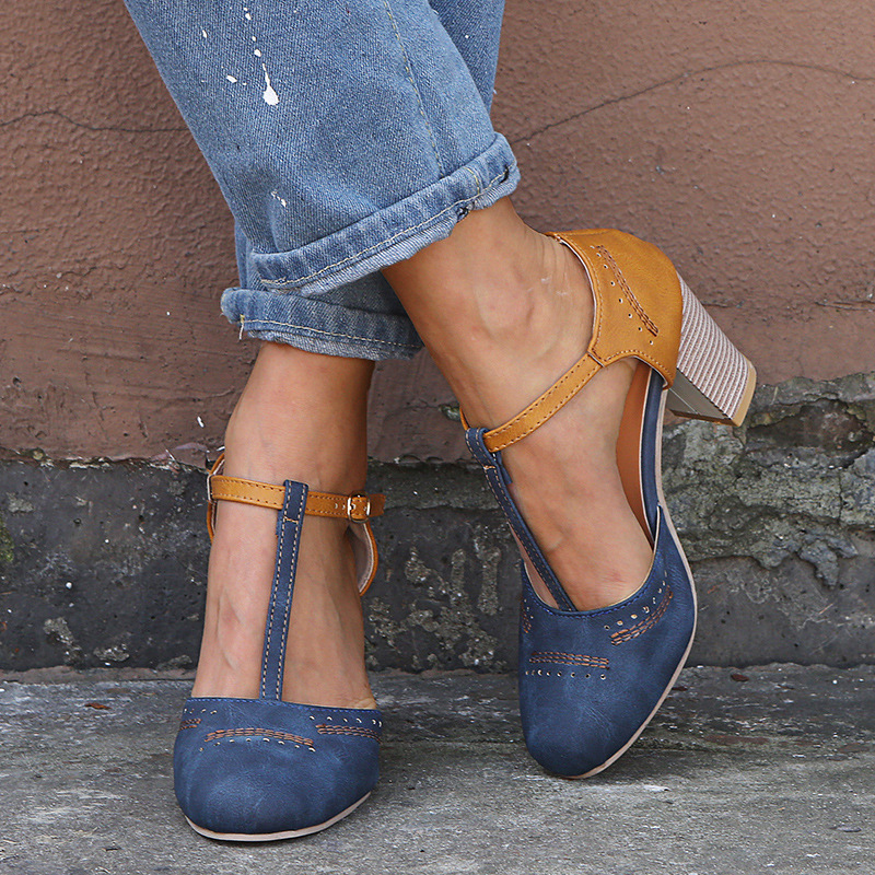 2019 Summer Sandals Newest Leather Patchwork Retro Vintage Women High Heels Square Heel Round Toe T Buckle Pumps Shoes