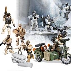 Akcesoria wojskowe żołnierze sił zbrojnych klocki MOC broń DIY figurki zabawki dla dzieci prezent kompatybilny LegoINGlys|Klocki|   -
