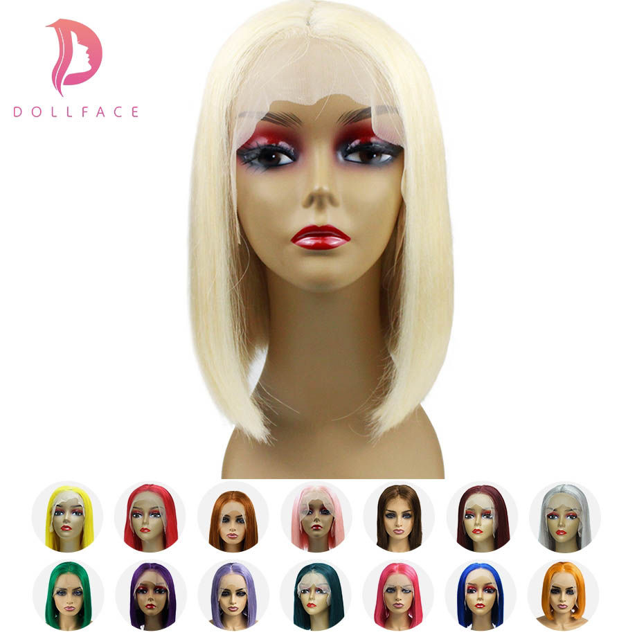 Short Lace Front Human Hair Wigs Blonde 613 Bob Lace Front Wig Pink Blue Multiple Colors