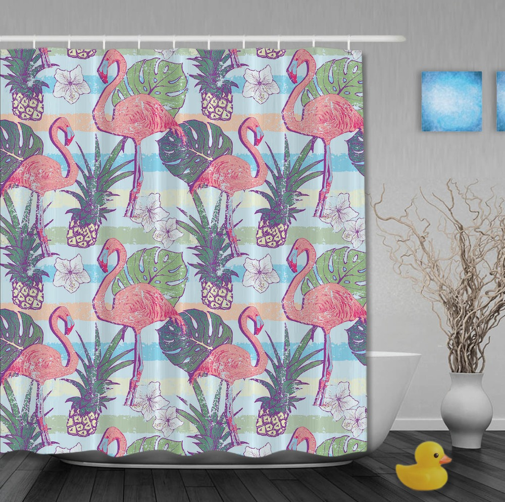 lovely animals shower curtain pink flamingos with pineapple striped shower curtains waterproof fabric custom bathroom curtain