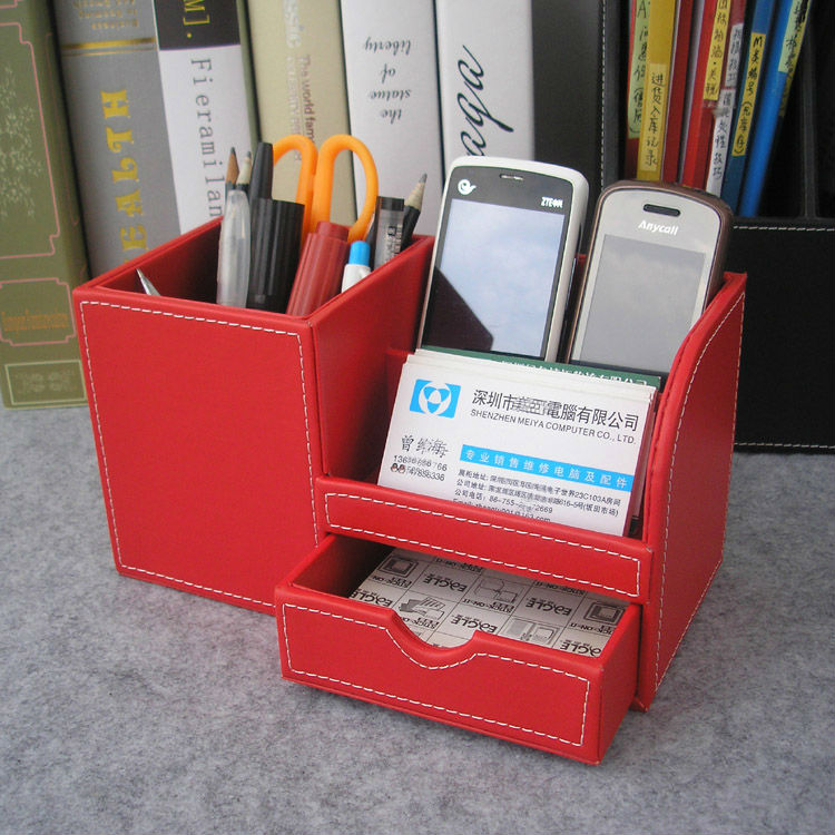 Wooden Struction Leather Multi Function Desk Stationery Organizer Storage Box Pen Pencil Holder Case Container Red 1270 In Accessories