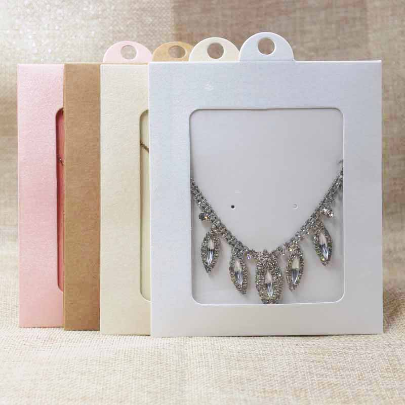 20pcs Kraft/black/pink Jewelry Necklace Package& Display Window Hanger Box DIY Wedding Greeting Card/candy/gifts Show Case