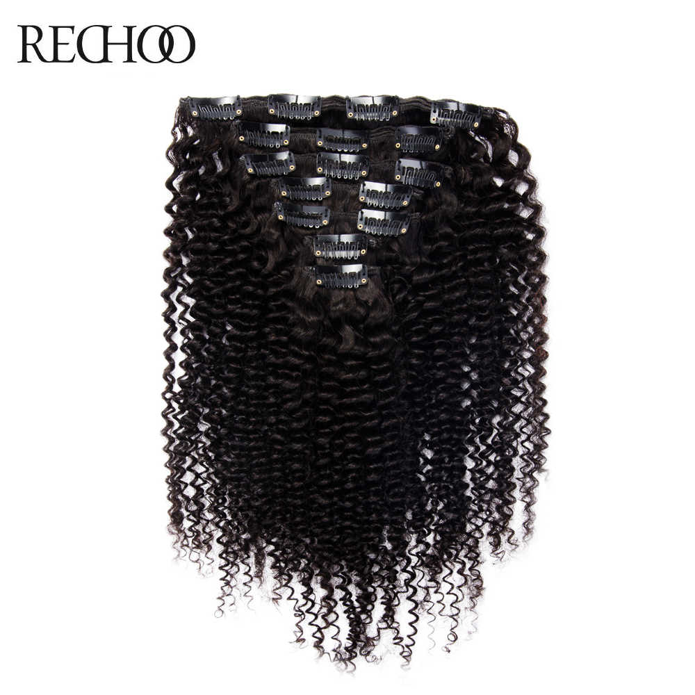 Rechoo African American Kinky Curly Clip In Hair Extensions Non-remy Brazilian 100% Human Hair 16-26 inches Full Head Set