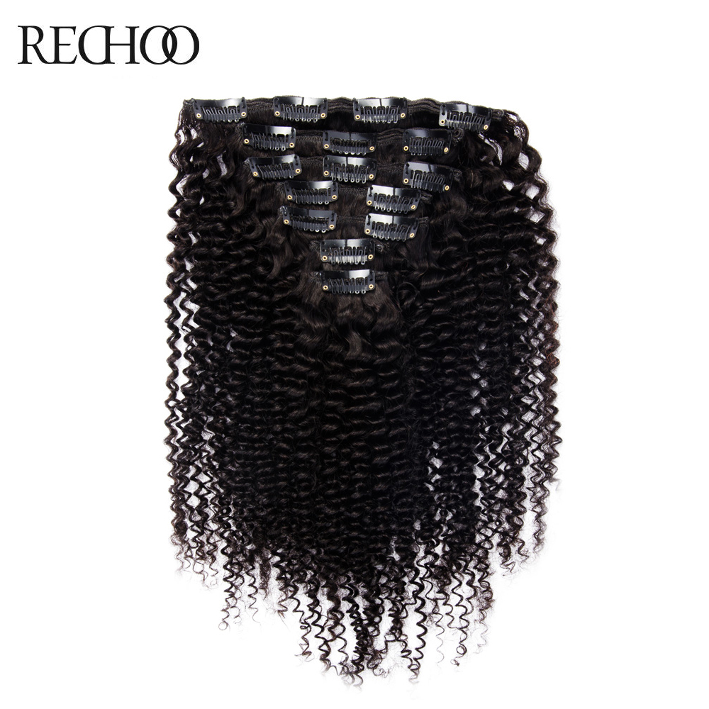 Rechoo African American Kinky Curly Clip i hårforlengelser Ikke-remy brasiliansk 100% Human Hair 16-26 inches Full Head Set