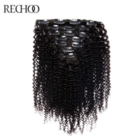 Rechoo African American Kinky Curly Clip In Hair Extensions Non remy Brazilian 100% Human Hair 16 26 inches Full Head Set