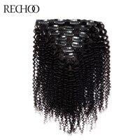 Rechoo afroamericano rizado clip en extensiones de cabello no Remy brasileña 100% Cabello humano 16-26 pulgadas completo head Set